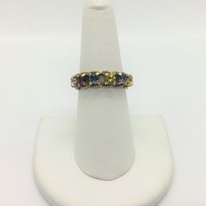 Jewelry - 10k Yellow Gold Vintage Multi Stone Ring Size 7